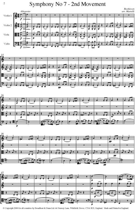 beethoven symphony 7 beethoven symphony no 7 movement 2 opus 92 string