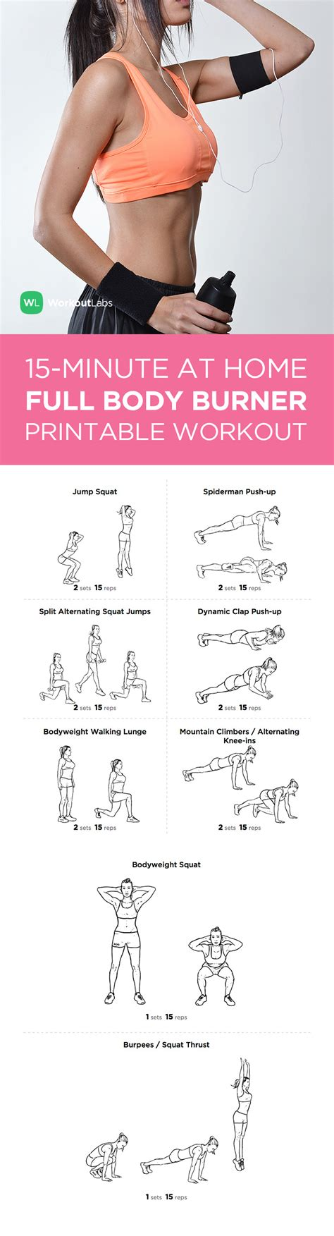 at home workout plans for women 15 minute full body burner at home workout for men women