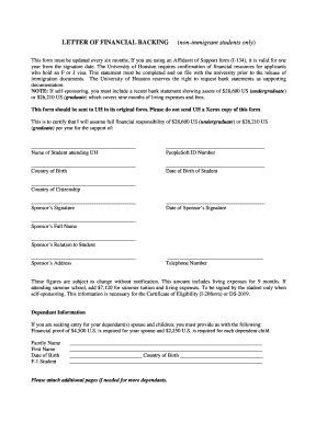 Financial Backing Letter sle of letter of financial backing of of