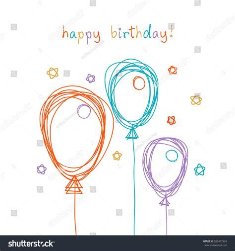 balloon fingerprint birthday card template vector birthday card doodle balloon color stock vector