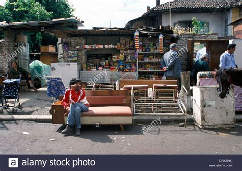 second hand sofa shops second hand furniture shop in tirana albania stock photo