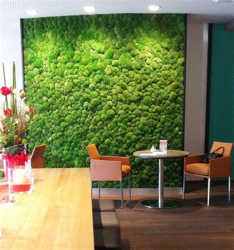 on the wall the green office moss walls