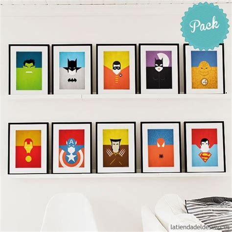 laminas decorativas laminas decorativas cuadros pack 10 superheroes l 225 minas