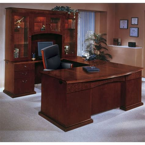 U Shaped Computer Desk With Hutch by Bow Front U Shape Desk With Left Return And Hutch Bows