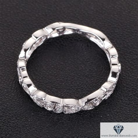 leaf pattern eternity ring antique diamond pave leaf pattern wedding band or ring 14k