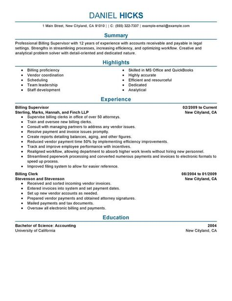 resume templates for billing best billing clerk resume exle livecareer