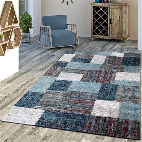 moderne kurzflorteppiche designer teppich blau meliert kurzflor modern kurzflor