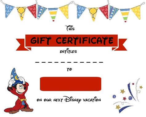 Printable Disney Gift Certificates | gifts for the disney lover the mom maven