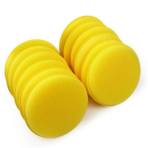 1 Pcs Pecah Seribu Yellow 12 pcs set car wax sponge automobile cleaning tool car care yellow anti scratch applicator pads