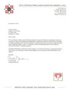 Certification Letter Address Trowel Of Excellence Certification Letter Superior Tile