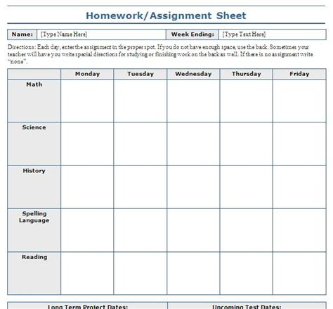 7 best images of free printable assignment sheets school