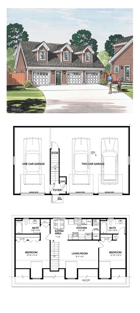 Garage Plan With Apartment | garage apartment plan 30032 total living area 887 sq