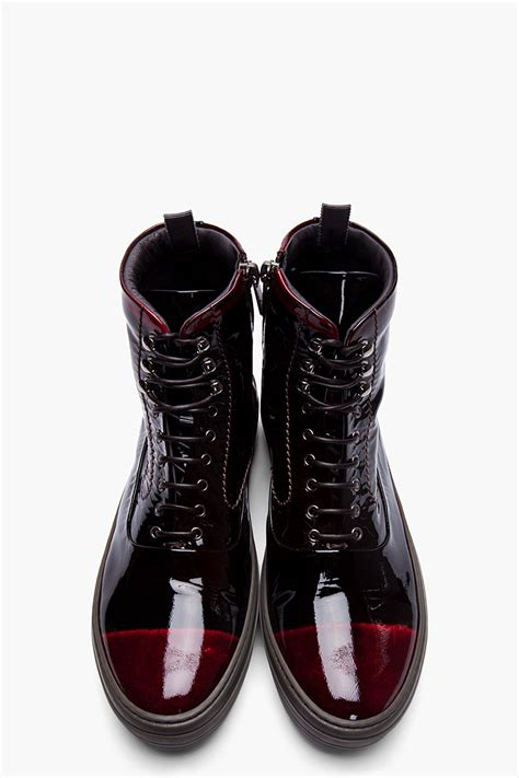 mens leather high top sneakers lyst mcqueen black and burgundy patent leather
