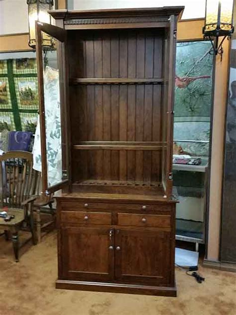 Handmade Gun Cabinet - amish custom gun cabinet with safe amish custom gun cabinets