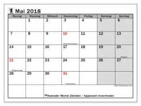 Kalender 2018 Feiertage Im Mai Kalender Zum Ausdrucken Mai 2018 Feiertage In Apenzell