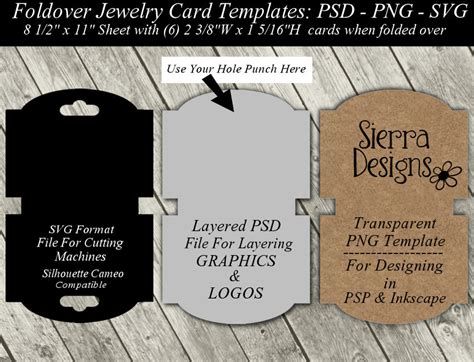 necklace display card template necklace card template available in svg cutting file layered