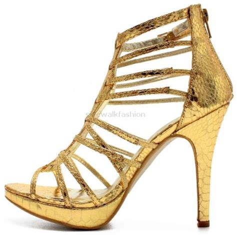 gold gladiator sandals with heels womens gold gladiator strappy heels sandals size ebay