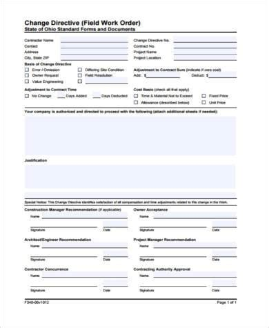 Sle Construction Work Order Forms 7 Free Documents In Word Pdf Field Work Order Template