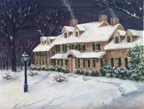 pearl s buck house pearl s buck house in snow painting by margie perry