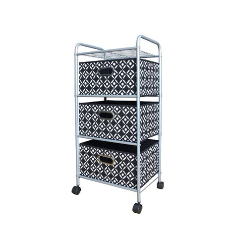 3 Drawer Fabric Storage Cart by 3 Drawer Fabric Cart 88807 The Home Depot