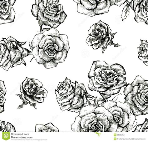 pattern design sketch flower sketch bouquet seamless pattern stock illustration