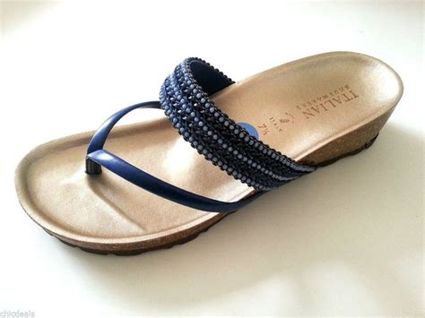 italian shoemakers sandals italian shoemakers blue wedge sandals low heel made in