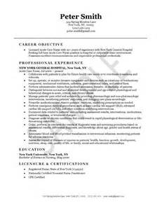 Acute Care Practitioner Cover Letter by Acute Care Nursing Resume Exle Nursing Resume Exles And Resume