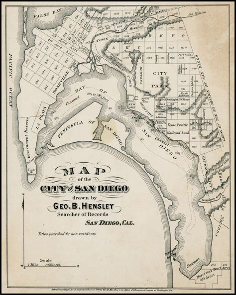 City Of San Diego Records Map Of The City Of San Diego By Geo B Hensley Searcher Of Records San Diego