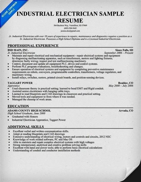 imposing electrician resume format maintenance worker sle industrial maintenance mechanic resume gallery of exles of