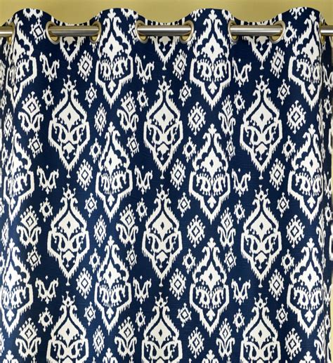 Navy Blue Ikat Curtains Navy Blue White Southwesterm Ikat Raji Curtains Grommet 84