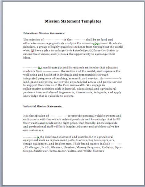 mission statement template creating a mission statement template search