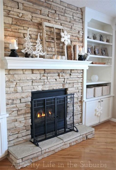 stone around fireplace stacked stone into built ins fireplace pinterest