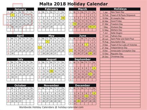 Malta Kalendar 2018 Malta 2018 2019 Calendar