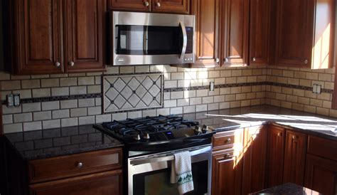 backsplash with glass mosaic border new jersey custom tile