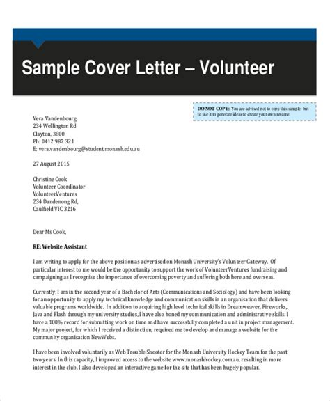 sle cover letter for volunteer cover letter sles