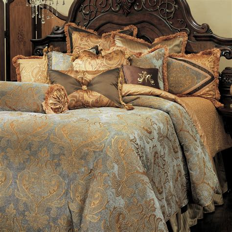 Silver And Gold Bedding Sets Michael Amini 13 Pc Elizabeth King Damask Bedding Set Ebay