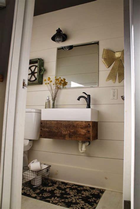 lcm powder room ikea sink wreclaimed wood reclaimed