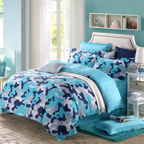 Best Queen Size Sheets navy blue sky blue grey and white modern camouflage print