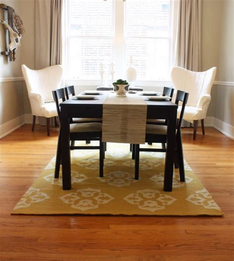 standard rug size for dining room table ideas pics of