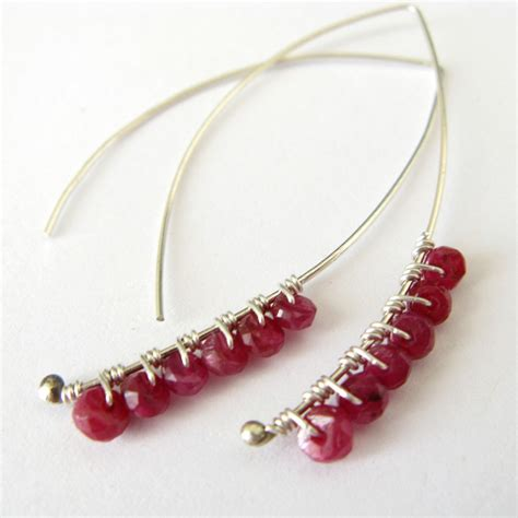 Katherine Handmade Earrings Red Ruby And Sterling By Lotusstone | silver earrings indian made male models picture