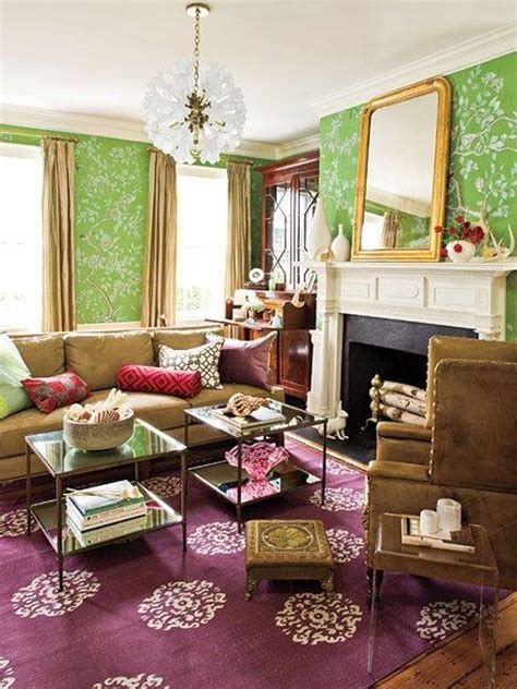 green wallpaper for living room 20 living rooms with beautiful floral wallpaper rilane