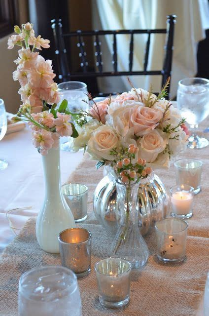 milk glass and mercury glass wedding centerpieces inked