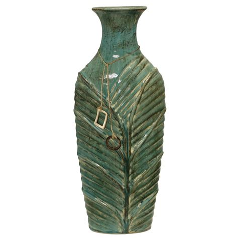 Green Leaf Ceramic Vase Tall