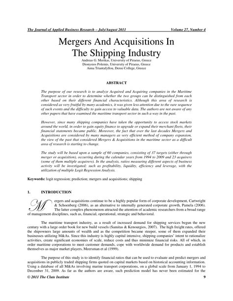 research papers on mergers and acquisitions mergers and acquisitions in the shipping pdf