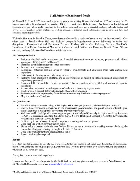 sle resume of auditor 28 images pdf cover letter