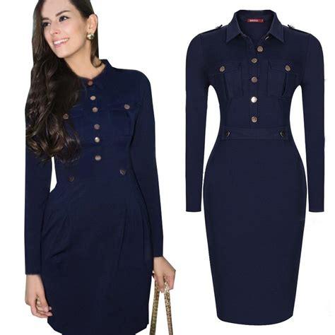 dress with belt button pockets button navy
