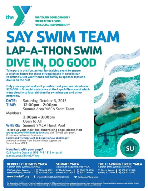Ymca Fundraising Letter Summit Ymca Swim A Thon Fundraiser Returns For Second Year Oct 3 Berkeley Heights Nj