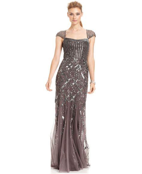 dress cap sleeve beaded sequin gown papell cap sleeve sequined gown in metallic lyst