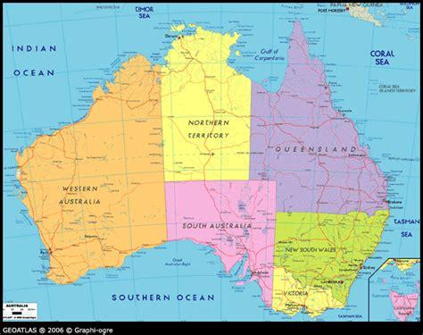 map of austriala political map of australia