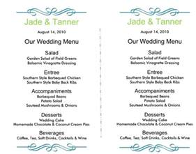 Template For Menus by Wedding Menu Template 5 Free Printable Menu Cards